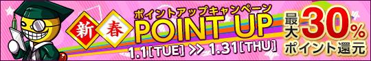 新春ポイントアップキャンペーン(1/1〜1/31)